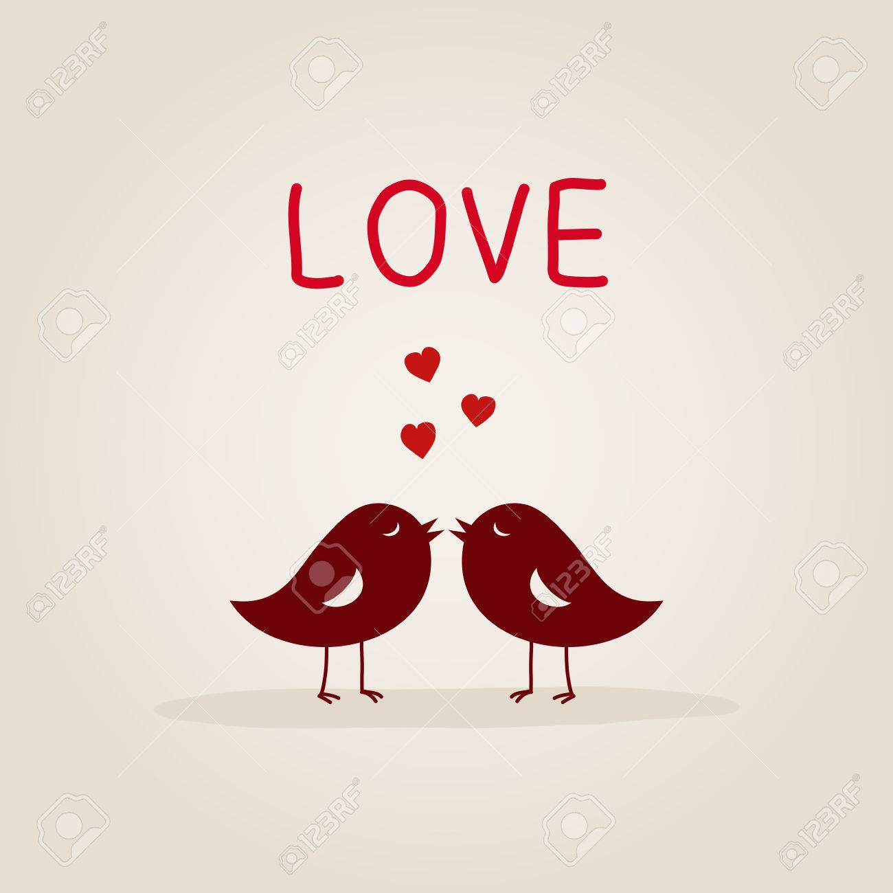Sweet Love Birds With Heart Royalty Free Cliparts Vectors And