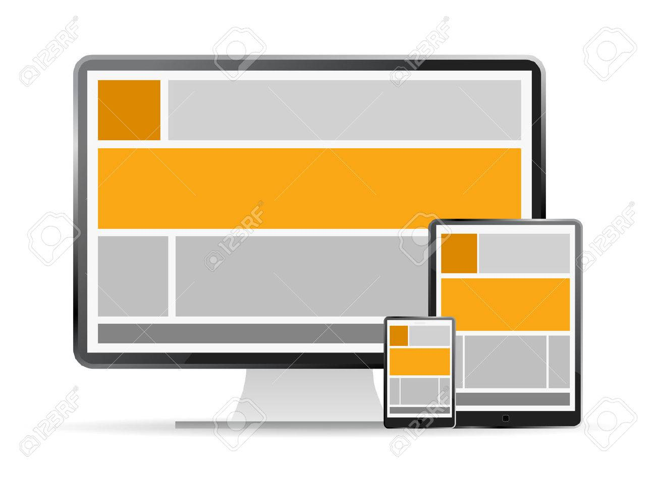 Fully responsive web design in devices Stock Vector - 24440688