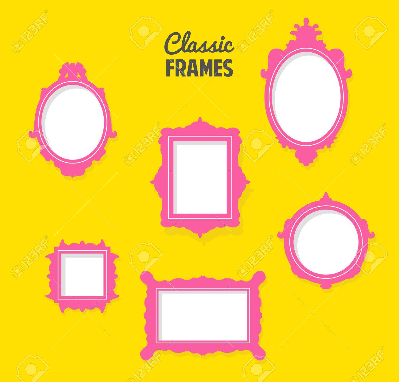 Set Of Classic Frames Silhouettes Royalty Free Cliparts, Vectors ...