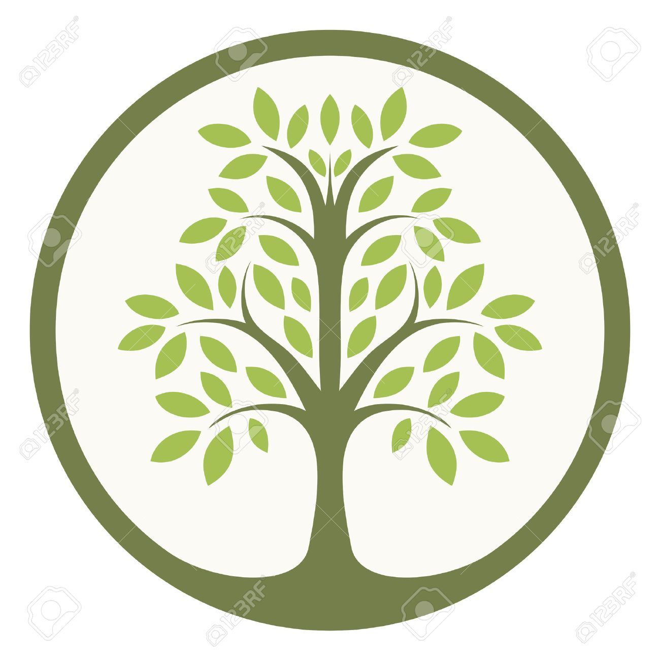 green tree of life in a circle royalty free cliparts vectors and