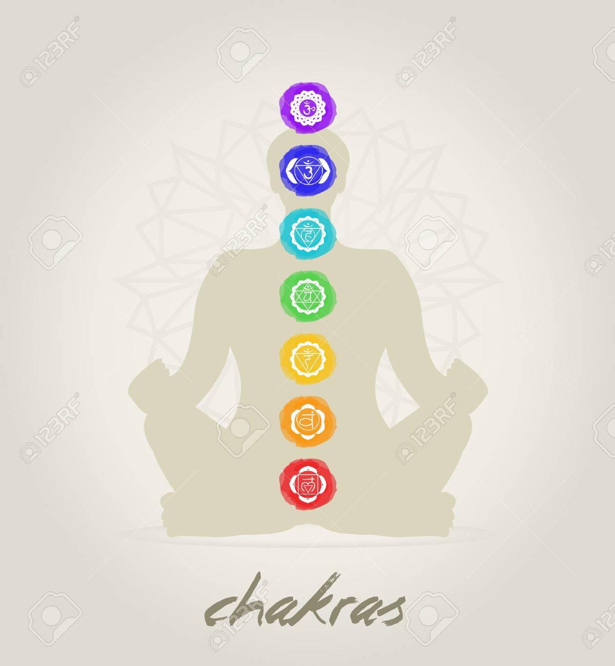 Meditation body with the seven Chakras - 35196702