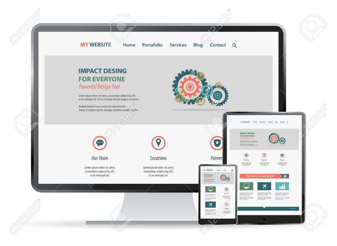 responsive web site design mockup - 41261152