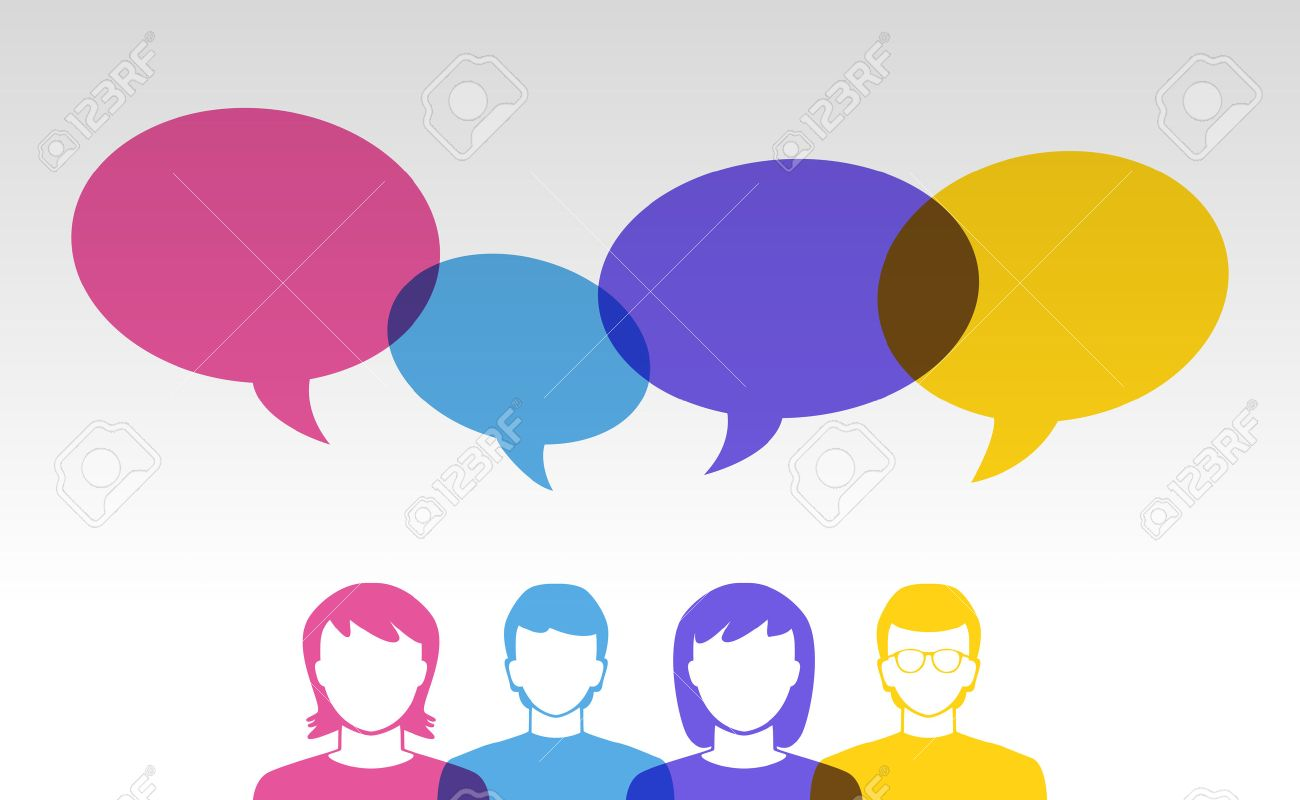 people icons and colorful speech bubbles - 41261153