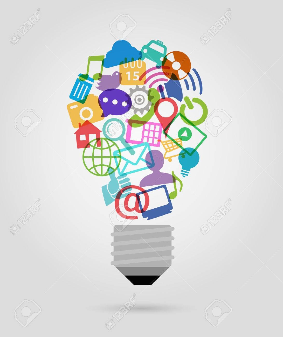 color social media icons, bulb shape - 43273059