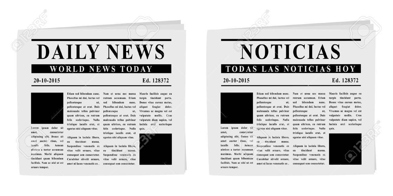 Newspapers front pages in English and Spanish - 46998669