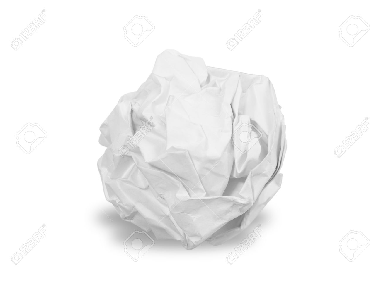 Crumpled paper ball isolated over white - 48288744