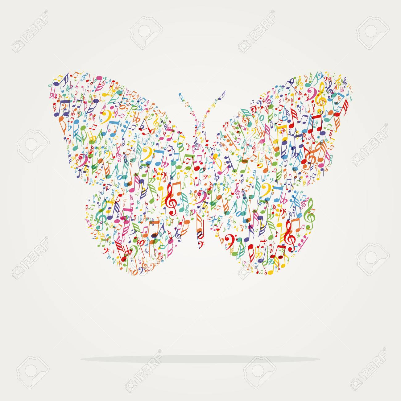 butterfly shape music color with notes - 57417859