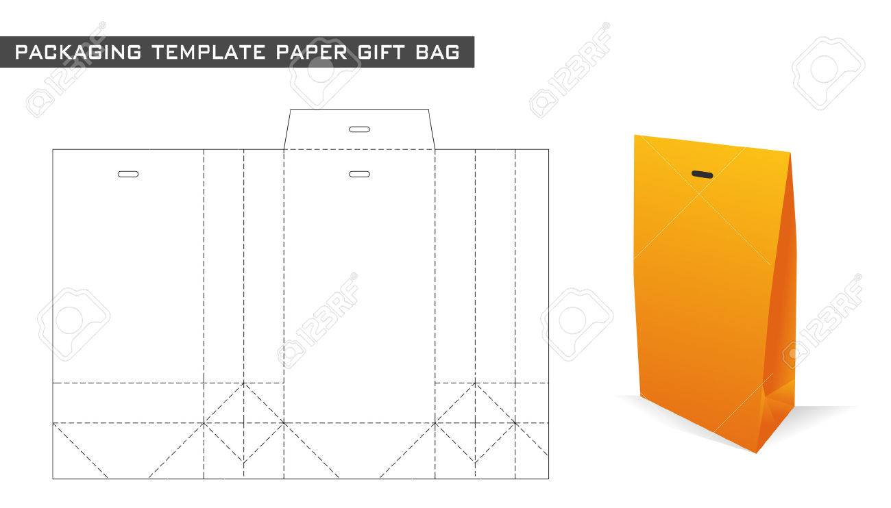 Packaging template paper gift bag in orange color royalty free packaging template paper gift bag in orange color stock vector 59288273 negle Images