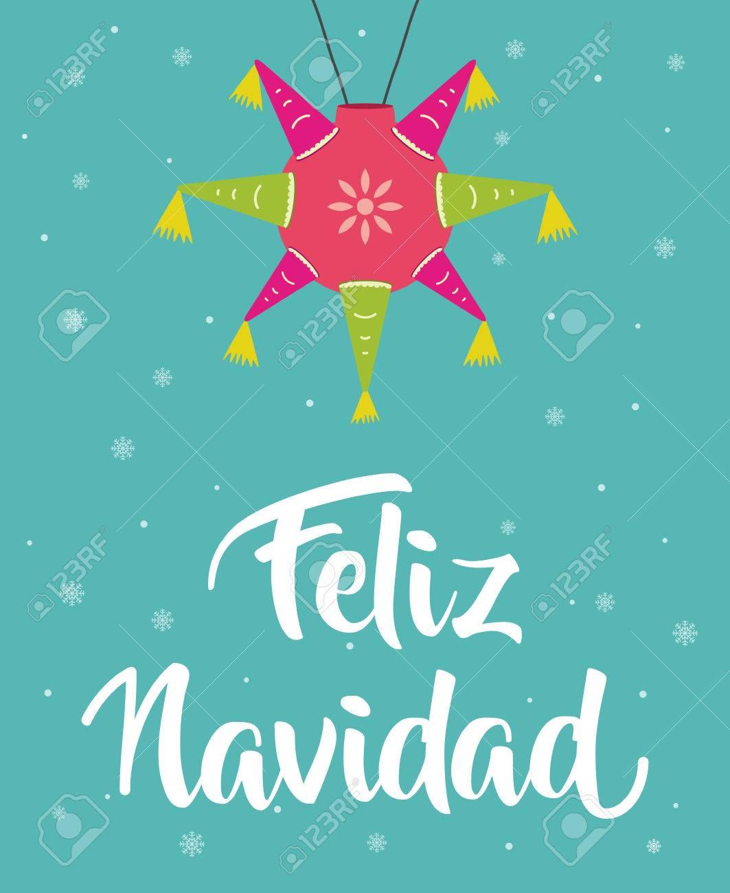 Buon Natale In Spagnolo.Vettoriale Feliz Navidad Buon Natale In Spagnolo Con Pinata Image 74190225