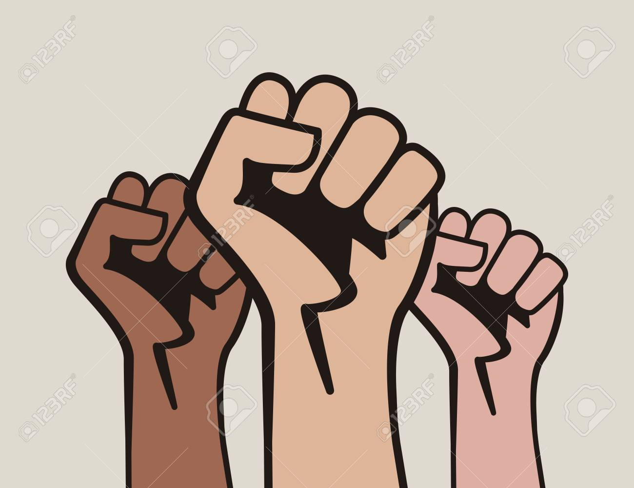 Raised three fists, power to the people - 109892518