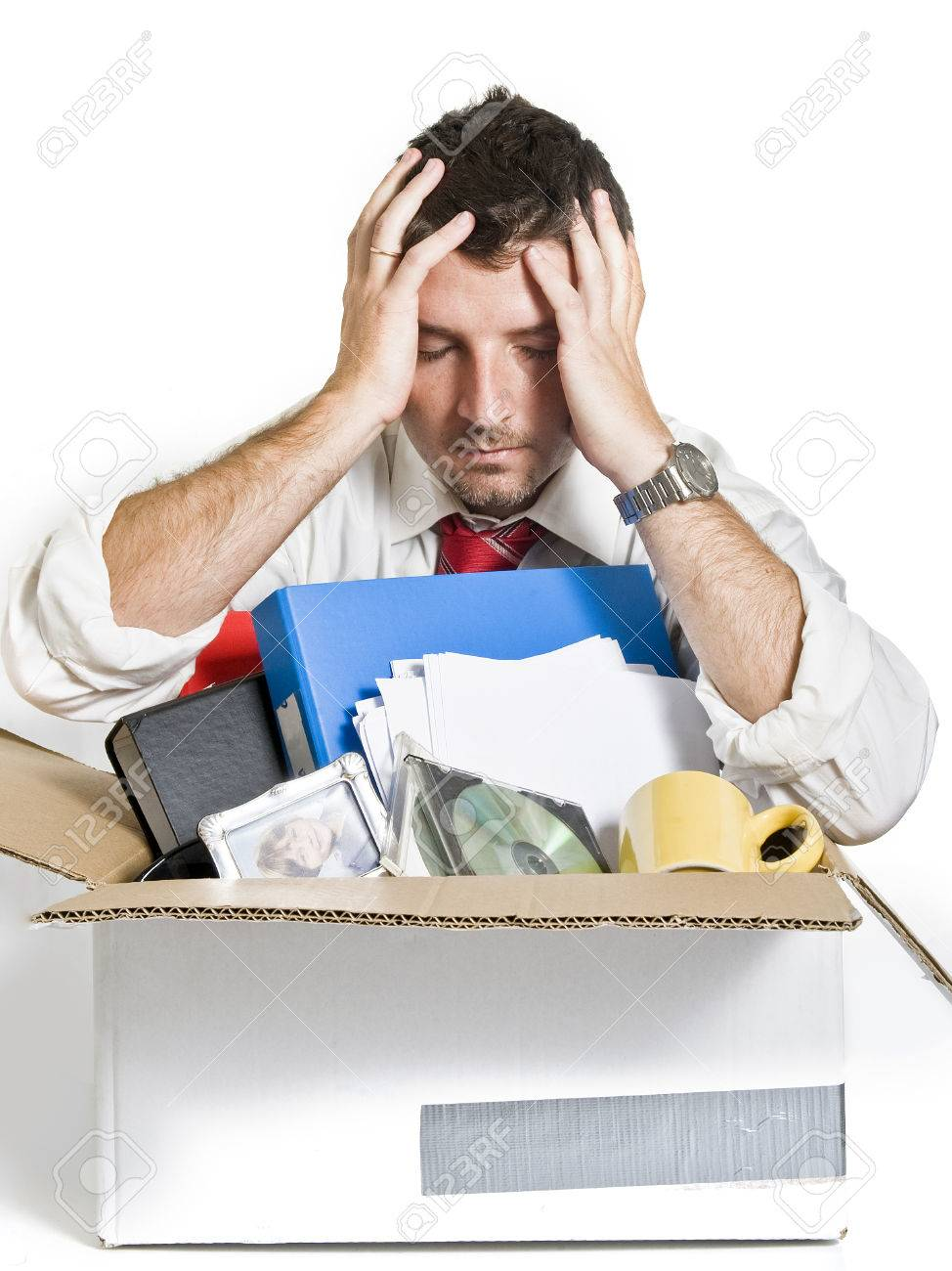 desperate man cardboard box fired from job stock photo desperate man cardboard box fired from job stock photo 22710241