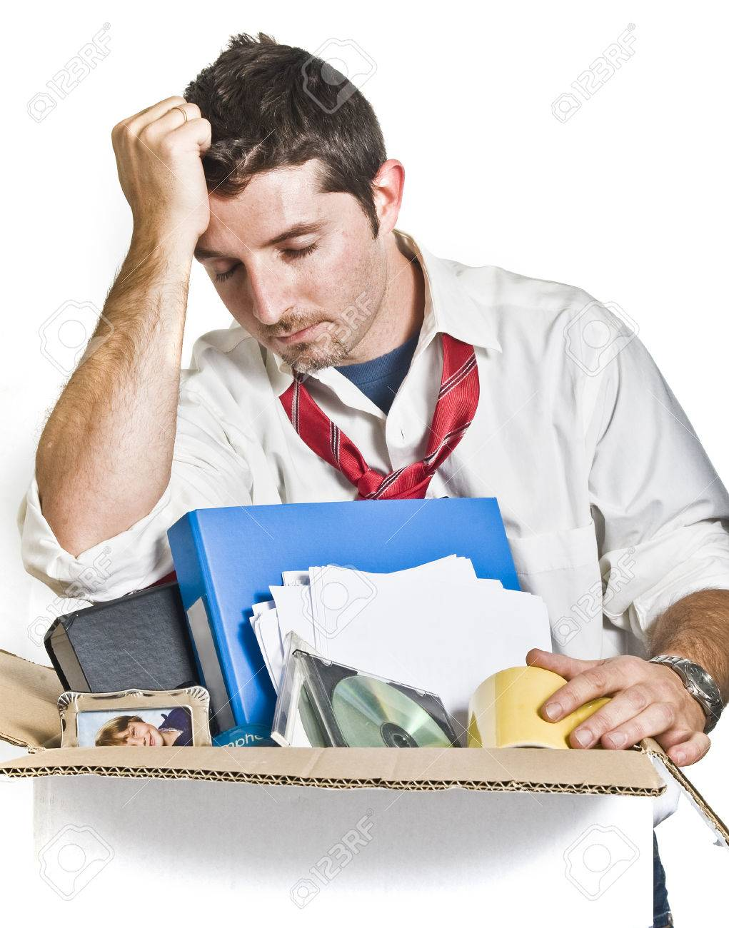 desperate man cardboard box fired from job stock photo desperate man cardboard box fired from job stock photo 22710242