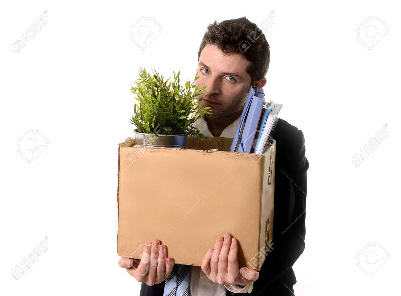 Jobless Young Business Man With Cardboard Box Fired From Job ...