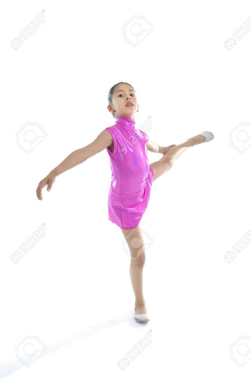 8f4b08b82 Latin Cute Young Little Girl In Dancing And Ballet Practice Alone ...