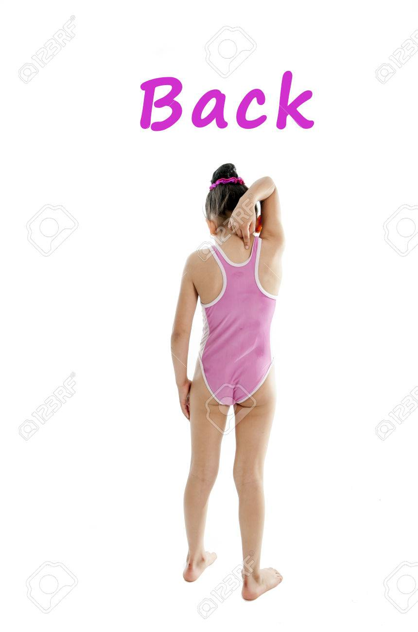 Girl Wearing A Pink Swimsuit Pointing At Her Back And Shoulder ...