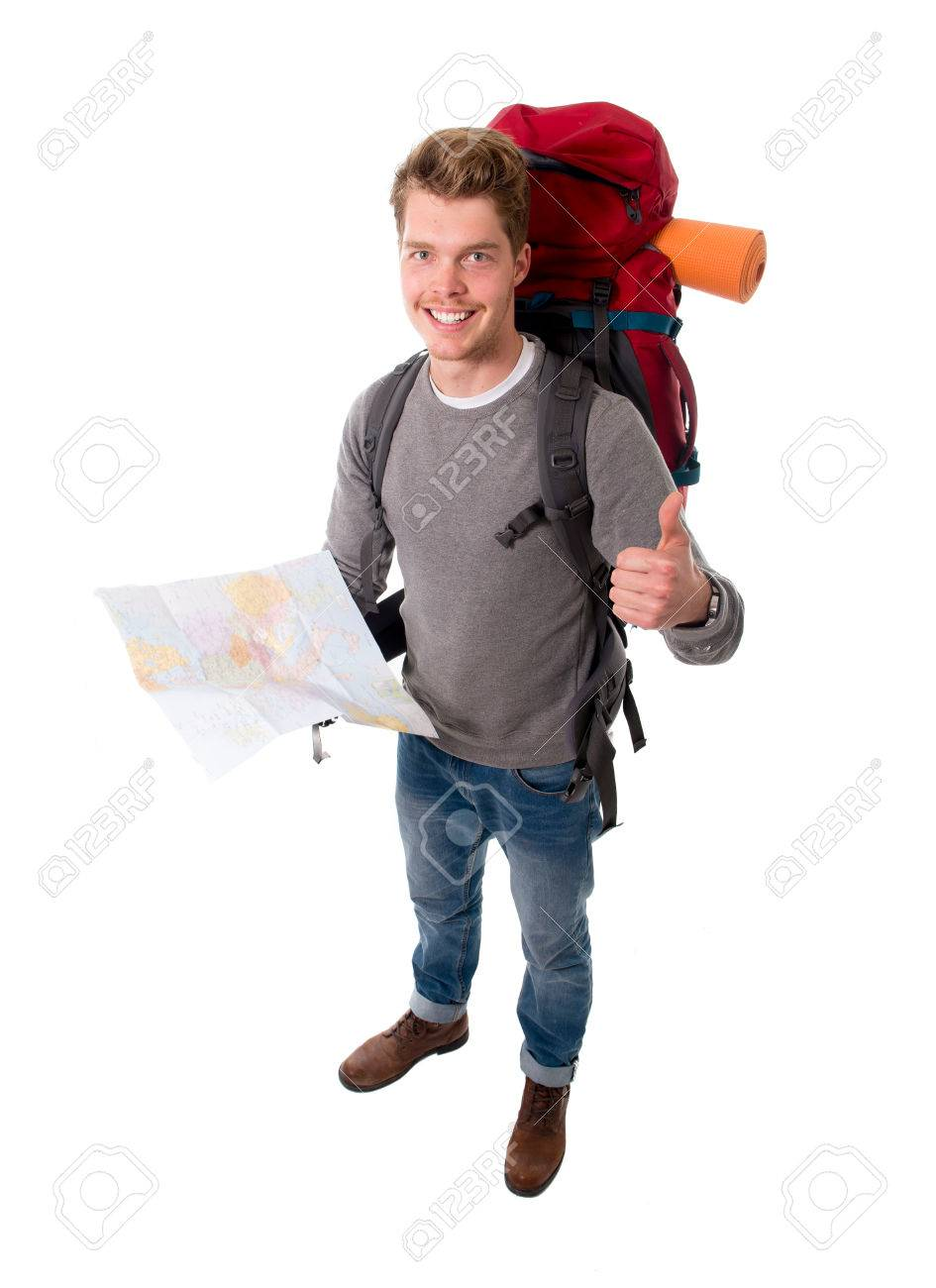 young attractive happy backpacker tourist looking map carrying big backpack  ready for travel and adventure on ba770394cf198