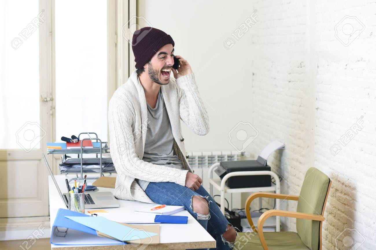 Young Trendy Businessman In Beanie And Cool Hipster Informal Stock Photo Picture And Royalty Free Image Image 53338067