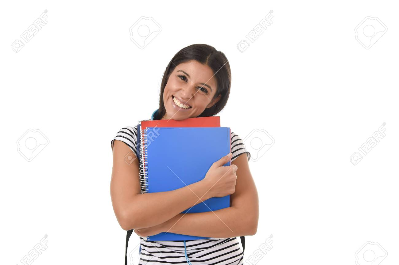f6eadba511 Stock Photo - young beautiful and trendy latin student girl holding notepad  folder and book carrying backpack smiling happy and confident in university  and ...