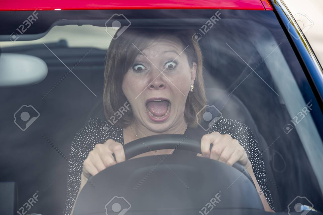 Fear Of Driving >> Female Rookie New Driver Young Beautiful Woman Scared And Stressed