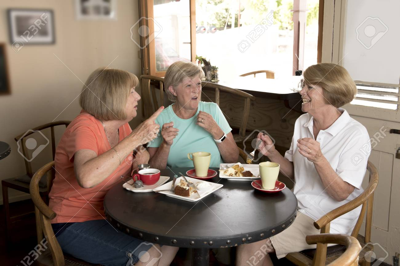 Group Of Three Lovely Middle Age Senior Mature Women Girlfriends