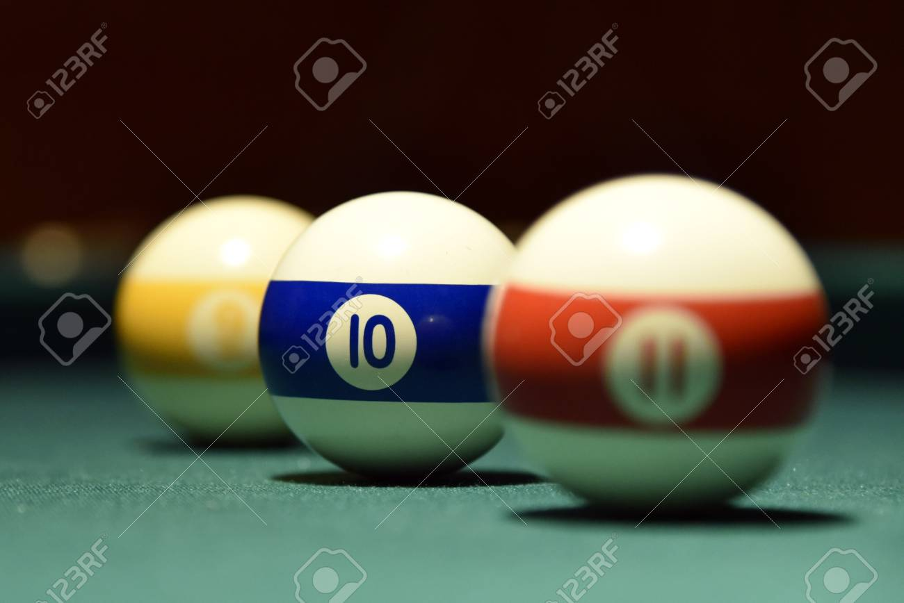 Billiard Balls And Cue On The Pool Table Pool, Ball, Table Stock Photo