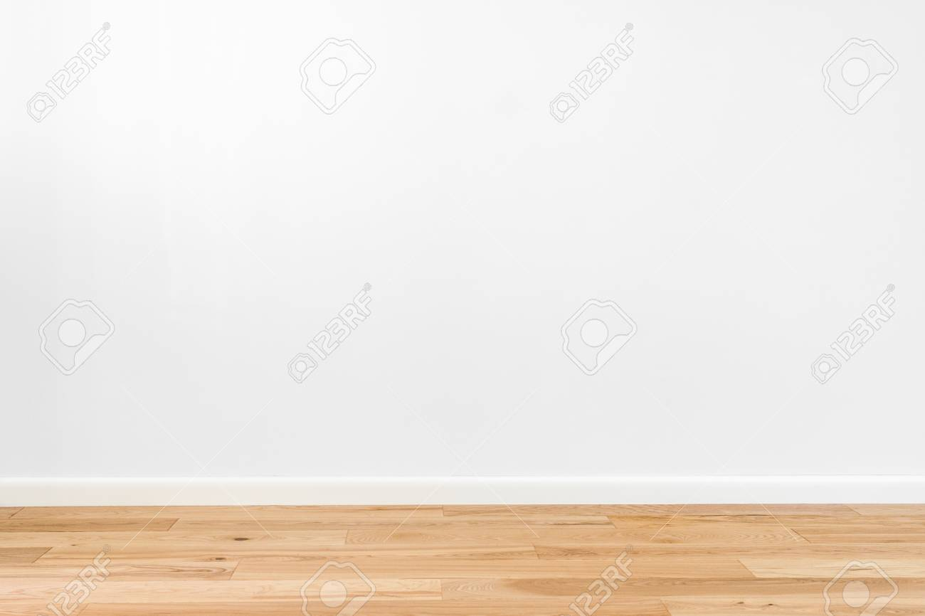Stock Photo   White Painted Stucco Wall And Natural Wooden Ash Tree 3 Band  Parquet Board Hardwood Floor. Flooring In Scandinavian Style Of Empty  Interior ...
