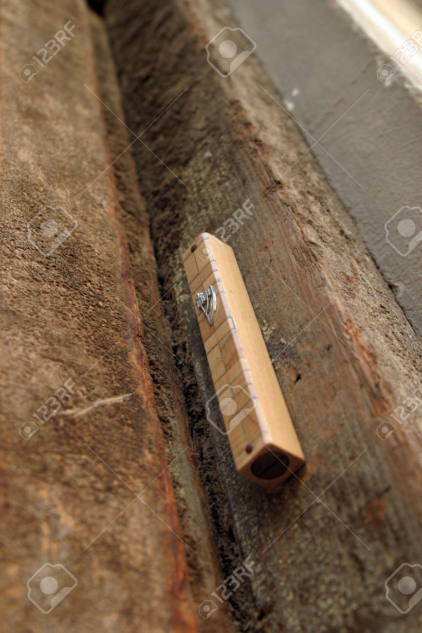 Mezuzah - Jewish symbol on an old door. Stock Photo - 912495 & Mezuzah - Jewish Symbol On An Old Door. Stock Photo Picture And ...
