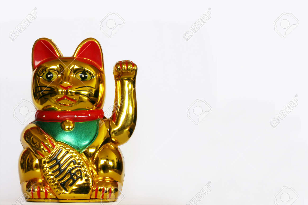 Golden Maneki Neko, room for copy Stock Photo - 3274849