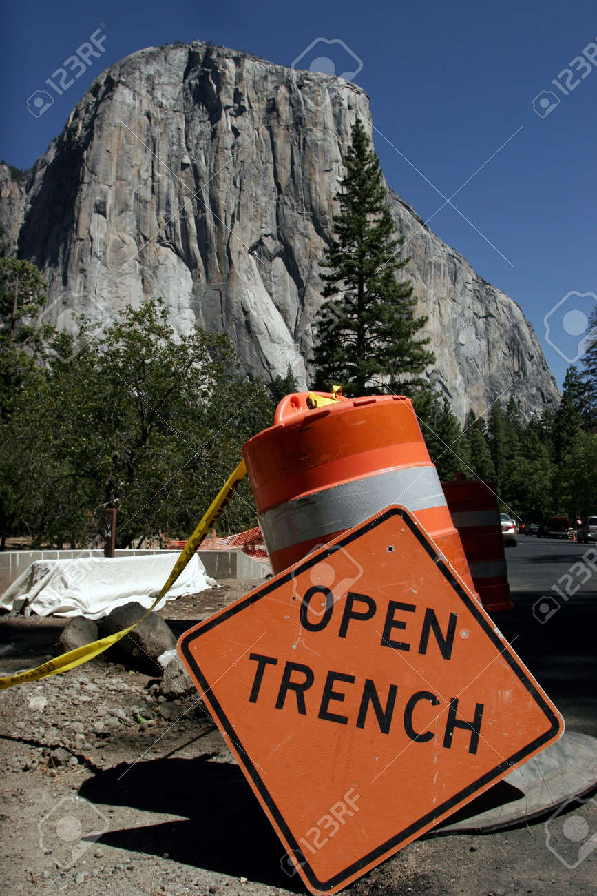 Open Trench sign, El Capitan in the background Stock Photo - 3673013