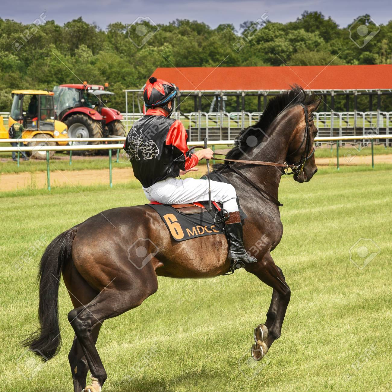 Magdeburg Germany 24 June 2017 Jockey Is Riding On A Dark Stock Photo Picture And Royalty Free Image Image 115967258