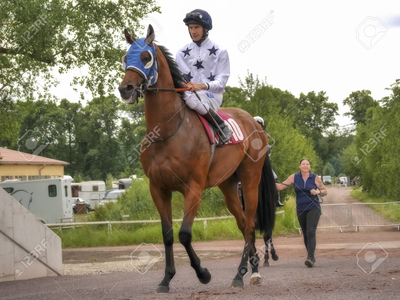 Magdeburg Germany 24 Juni 2017 Jockey Rides On The Red Horse Stock Photo Picture And Royalty Free Image Image 115968307