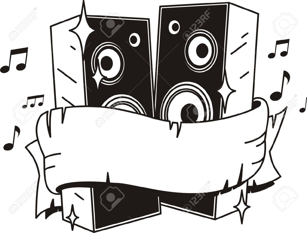 vector loud speakers  tattoo style Stock Vector - 17929565