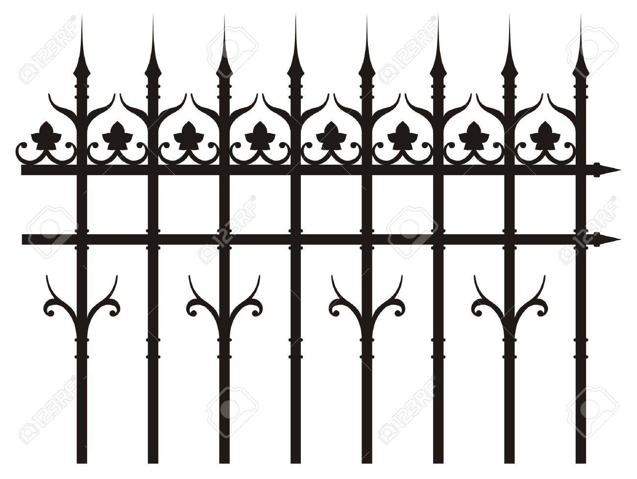 vintage iron fence Stock Vector - 17929575