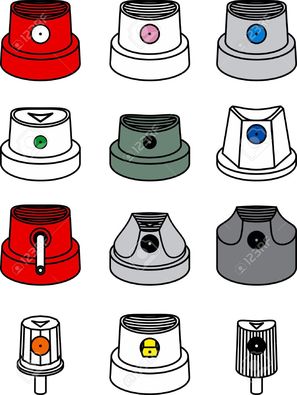 set of graffiti spray can caps Stock Vector - 17929513 971aead1a60