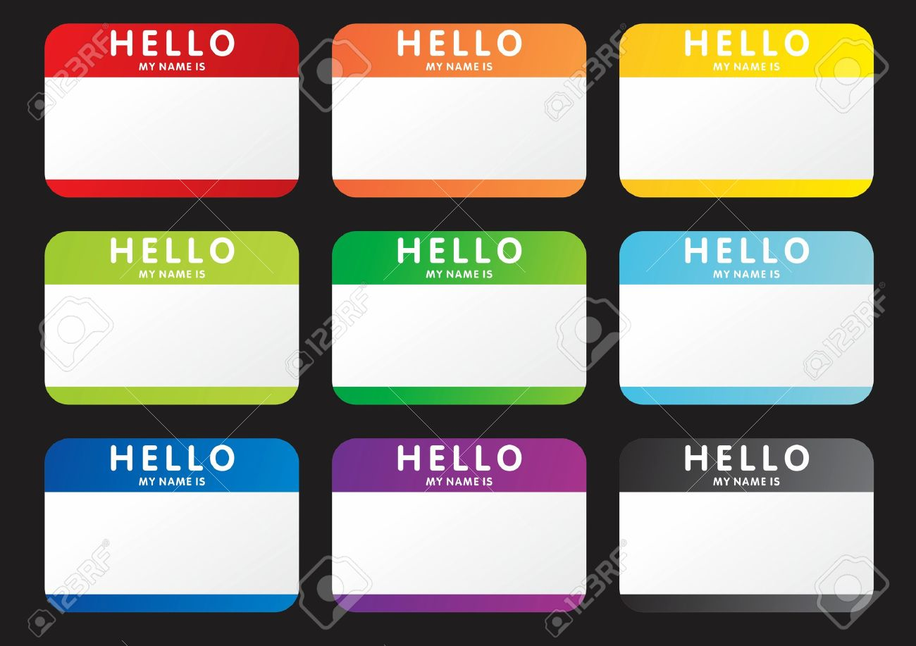 Set Of Hello My Name Is Stickers