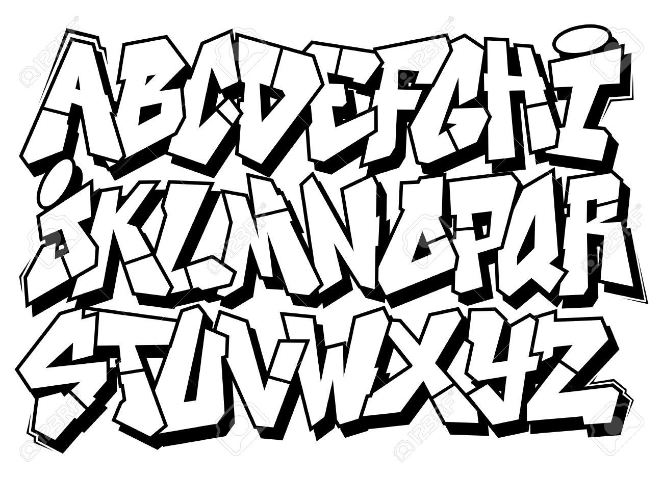 Classic Street Art Graffiti Font Type Vector Alphabet Stock