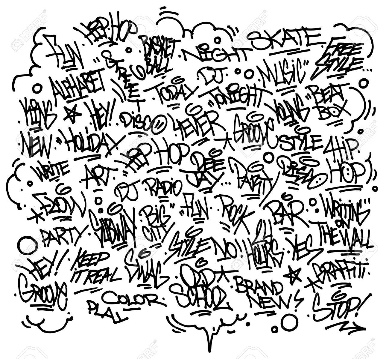 Multiple urban art and graffiti tags slogans decorations vector stock vector 23856859