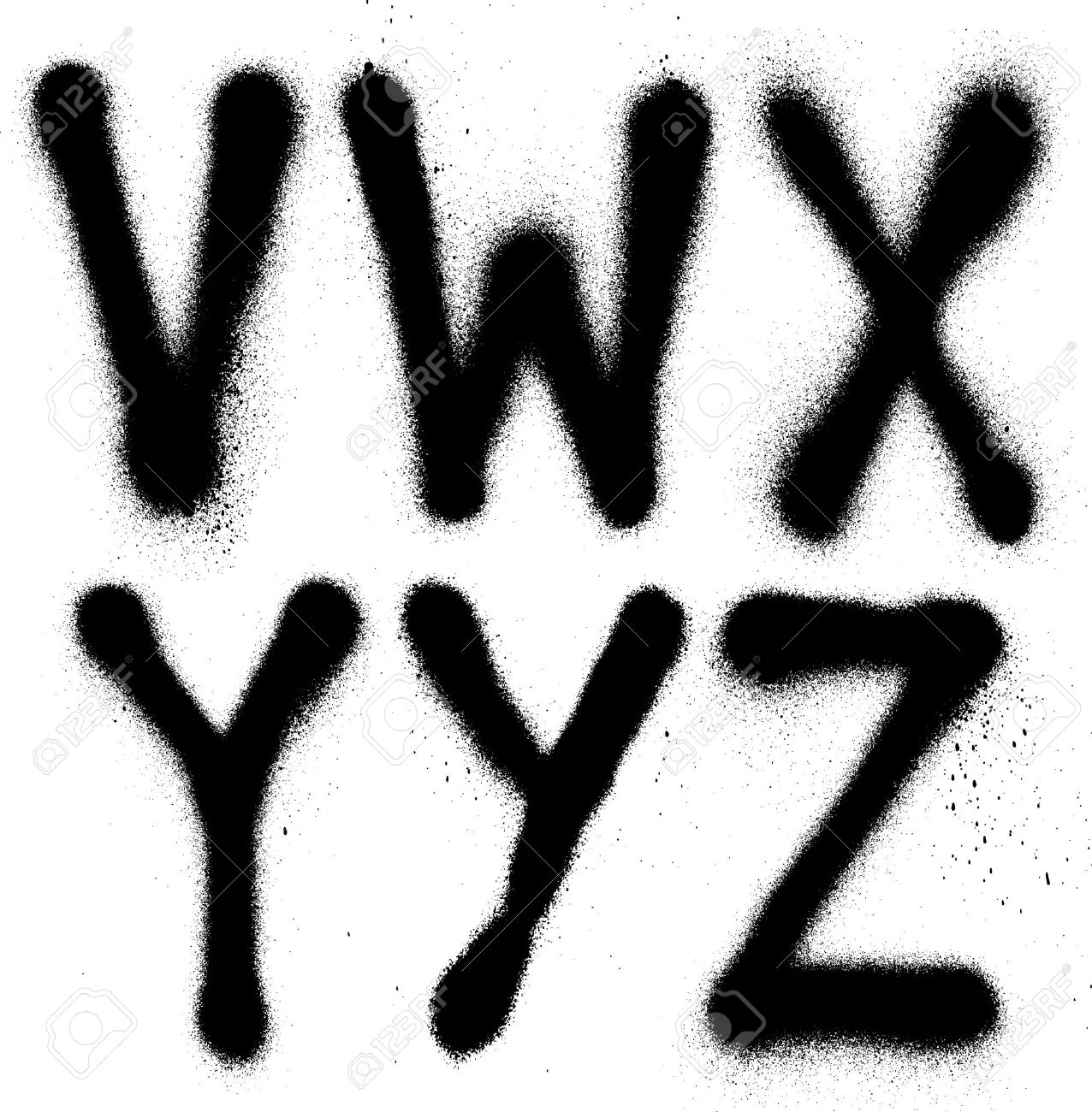 Detailed graffiti spray paint font type part 4 vector alphabet stock vector 23900306