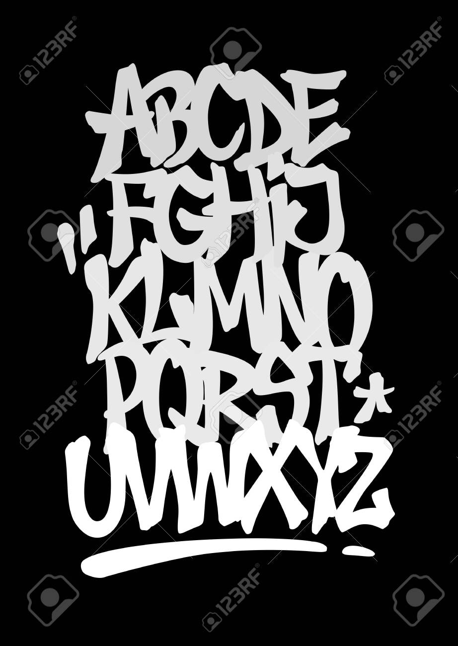 Hand lettering graffiti font with decorations. Vector alphabet - 139723900