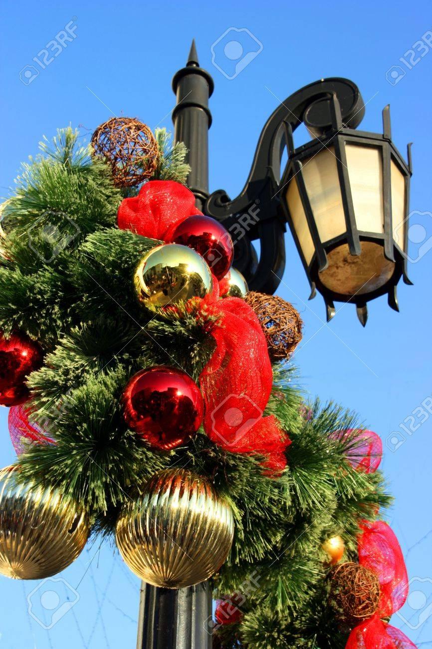 Christmas decorations on lighting pole