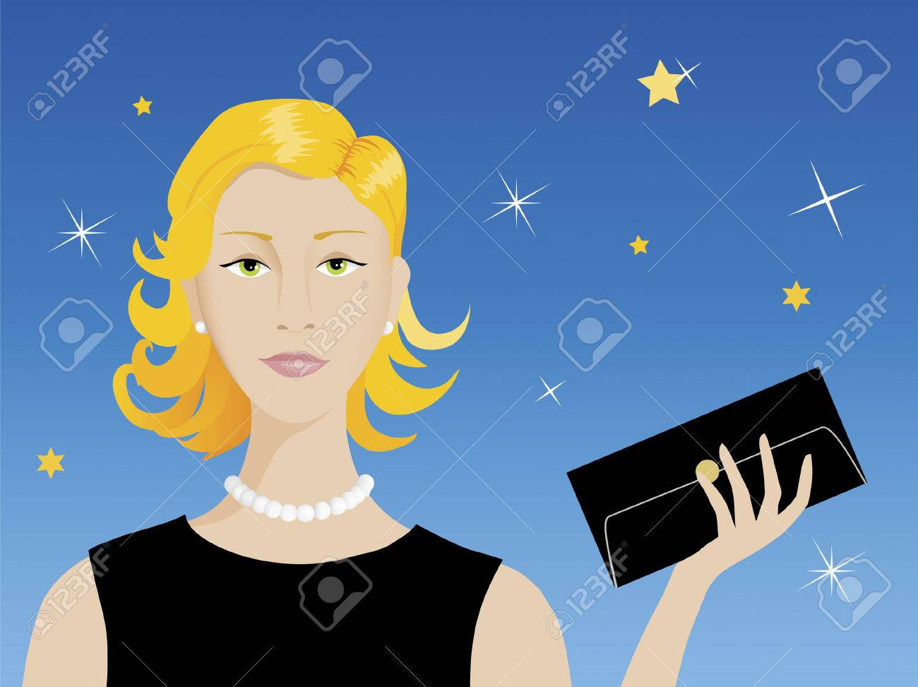 Smart attractive blond woman ready for her evening rendez-vous Stock Vector - 2862745