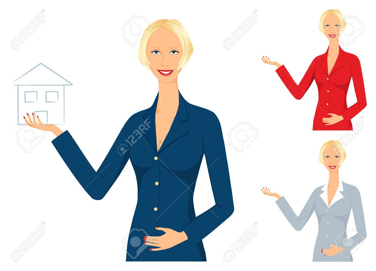 Servizi Per Agenti Immobiliari sorridente agente immobiliare di vendita di una nuova casa - può essere  utilizzato per qualsiasi servizio o attività concetto
