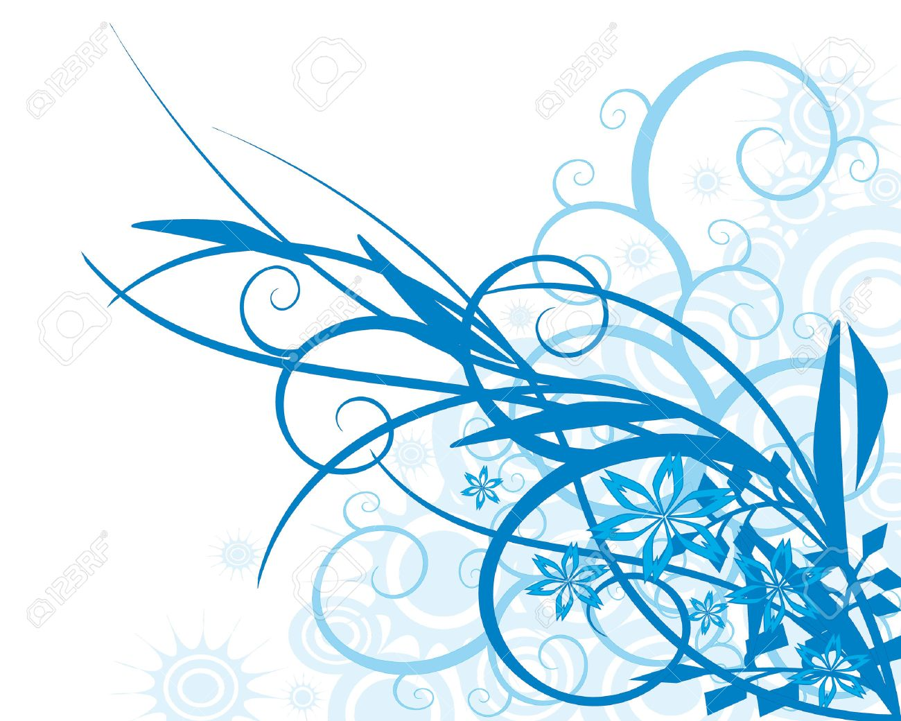 Floral Background-color Azul, El Vector Ilustraciones Vectoriales ...