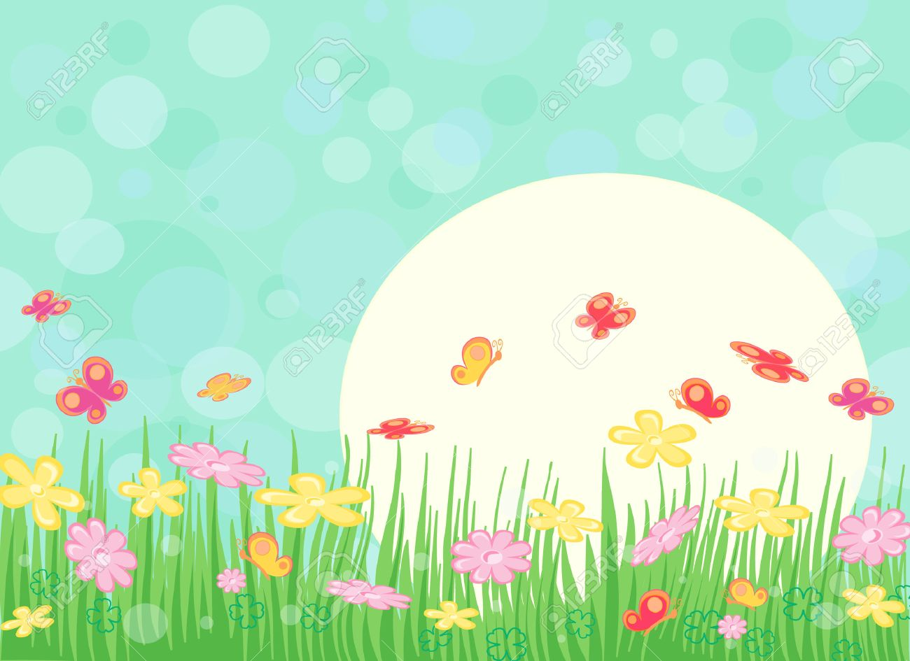 Flower garden cartoon - Spring Sunny Landscape With Flowers And Butterfly Stock Vector 6450544