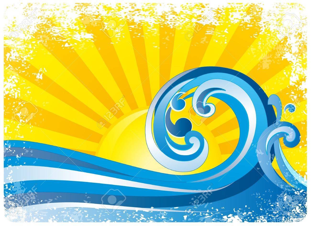 sunrise, surfing waves Stock Vector - 10413973