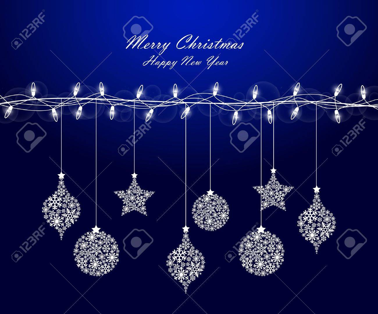 Background of Christmas lights with decorations Stock Vector - 11093178
