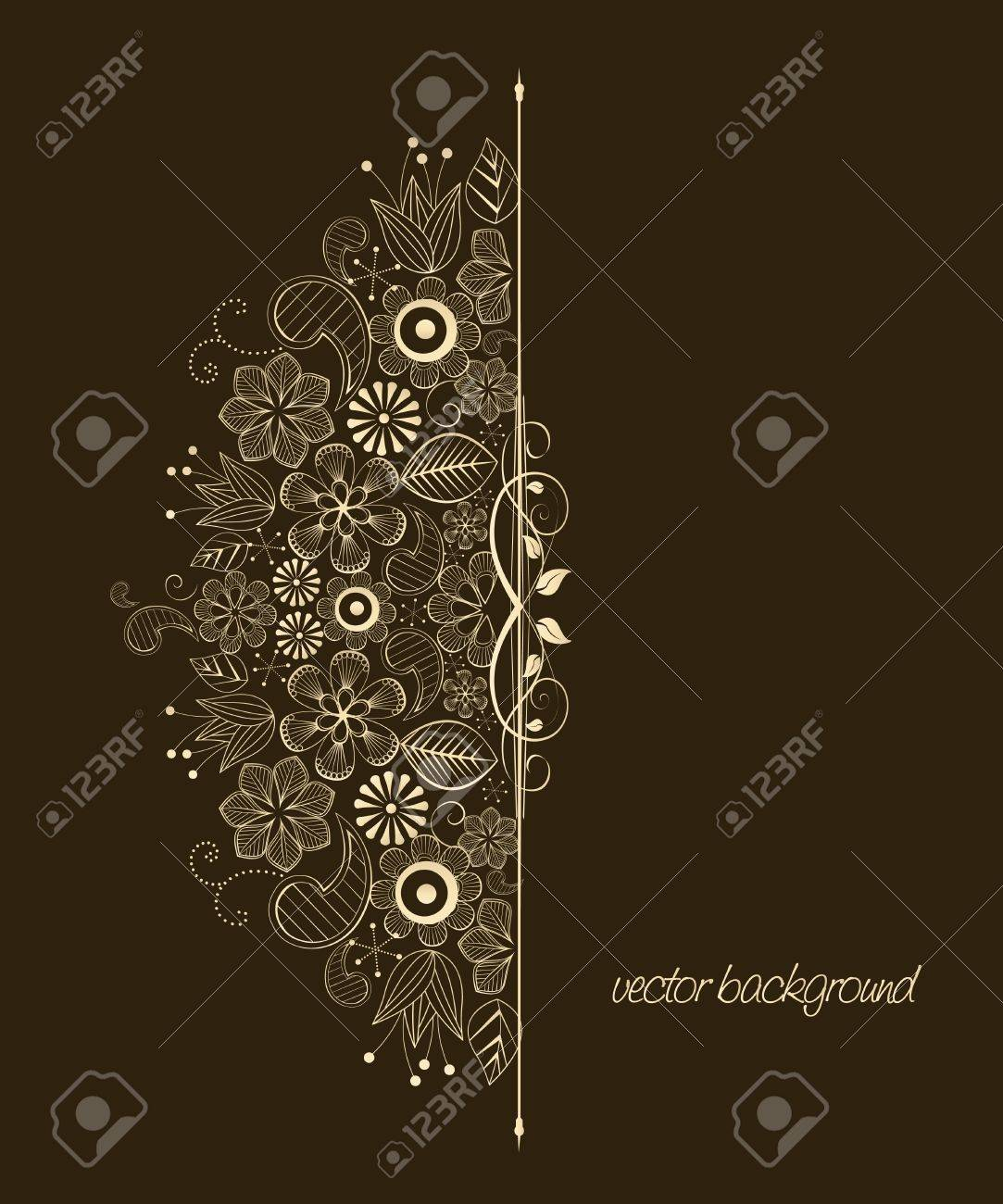 Beautiful floral illustration on brown background Stock Vector - 12831967