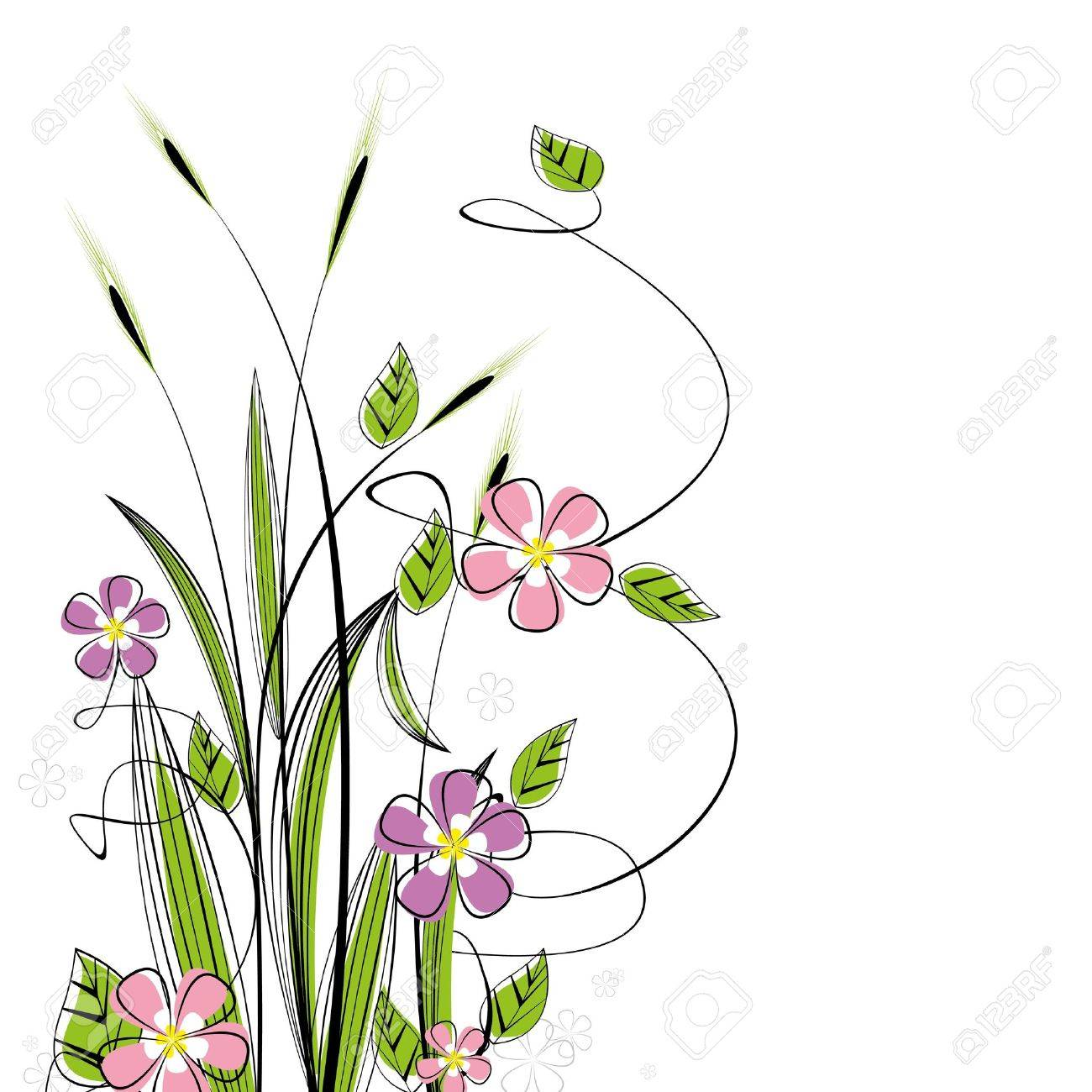 grass with flowers on white background - 13086638