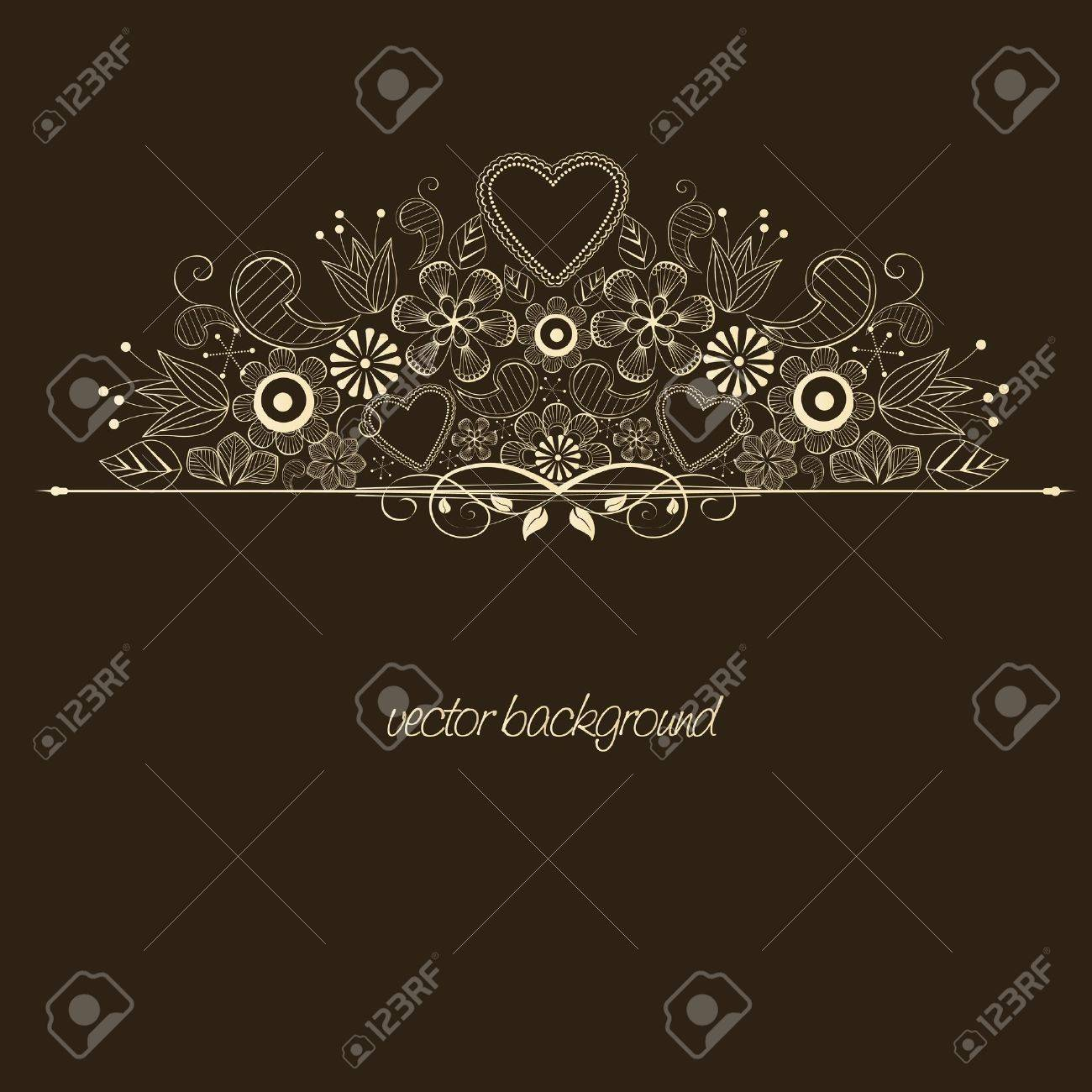 decoration with flowers on brown background Stock Vector - 13086640