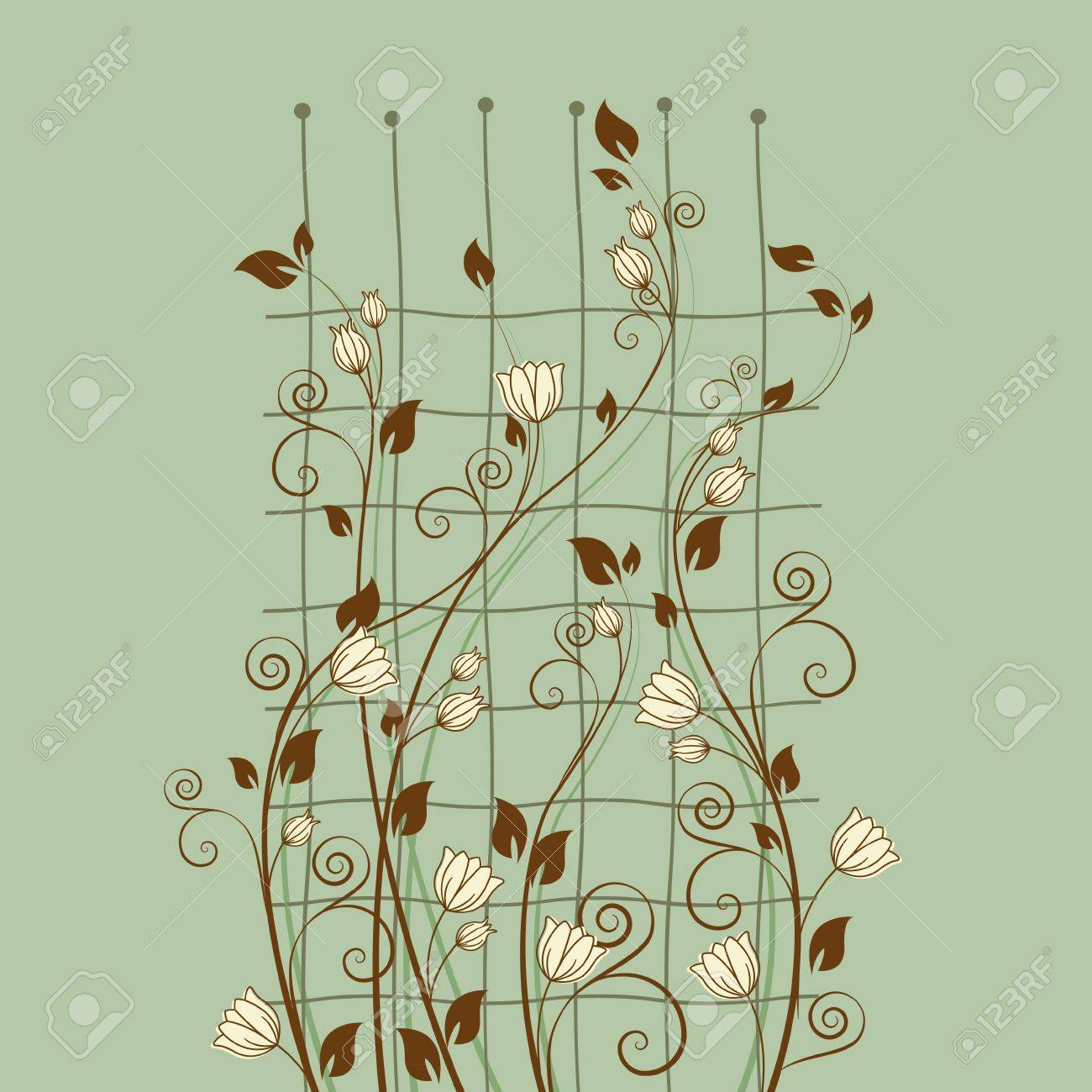 floral decoration on a green background Stock Vector - 13282007